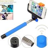 Selfiestick Monopod met ingebouwde Bluetooth Afstandbediening Blauw Blue