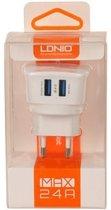 LDNIO - 2 USB Oplader Stekker Thuislader met LED - Samsung Galaxy Trend II Duos S7572