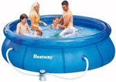 Bestway Fast Set Opblaasbaar Zwembad - 305 cm - inclusief 12V Filterpomp