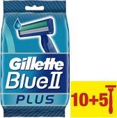 Gillette Blue II Plus - 10+5 stuks - Wegwerpscheermesjes