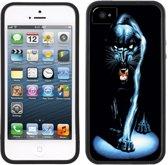 Zwarte Panter - Handmade - iPhone 5 5S - Zwart TPU Hoesje