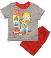 Bob de Bouwer Jongens Shortama - grijs;rood - Maat 110