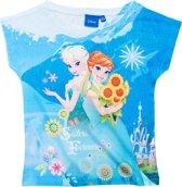 Disney Frozen Meisjes T-shirt - Wit/Blauw - Maat 140