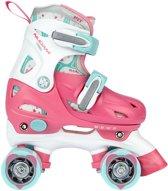 Nijdam Junior Rolschaatsen Junior Verstelbaar - Hardboot - Roze/Wit/Lichtblauw - 34-37