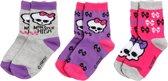 Monster High Meisjessokken - Grijs / Roze / Lila - Maat 31 / 34