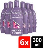 Andrélon glans & care  - 300 ml - shampoo - 6 st - voordeelverpakking