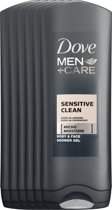 Dove Men+Care Sensitive Clean - 250 ml - Douche Gel - 6 stuks - Voordeelverpakking