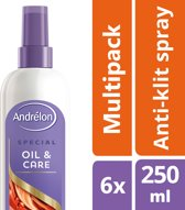 Andrélon oil & care  - 250 ml - anti-klit spray - 6 st - voordeelverpakking
