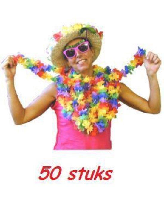 Vrolijk gekleurde Hawaii kransen 50 stuks
