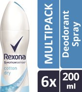 Rexona ultra dry cotton Woman - 200 ml - deodorant spray - 6 st - Voordeelverpakking