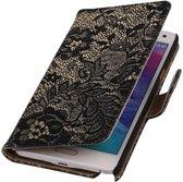 Alternate Bookstyle Flip Case Hoesje Samsung Galaxy Note 4 Bloem Zwart