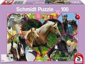 Puzzel paarden liefde - Kinderpuzzel - 100 Stukjes
