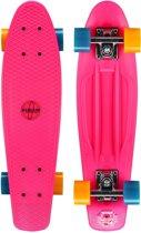 Nijdam Plastic Skateboard 22.5 Inch - Flipgrip-board - Fuchsia/Fluororanje/Blauw