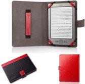 Ereader beschermhoes 6 inch universeel / hoesje / Design cover rood-zwart