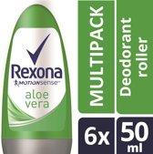 Rexona Woman deodorant roller fresh aloe vera - 6 st - voordeelverpakking