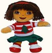 Dora Kerstmis pluche beanie knuffel 18cm