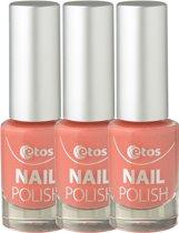Etos Nailpolish 081 - Coral Sugar - Sugar - Oranje - 3 stuks - Nagellak