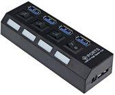 High Speed 4 Ports 2.0 USB hub Multi oplaadadapter met aan/uit knop en led verlichting.