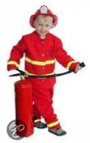 Brandweer kostuum rood 2 delig luxe  voor kinderen in de maat 152/164