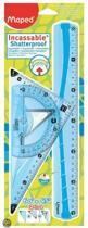 Flex tekenset - 1 x liniaal 30 cm - 1 x 2-in-1  driehoek - 1 x gradenboog 180� - blauw