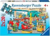 Garagebedrijf en tankstation - Kinderpuzzel - 2x 24 Stukjes