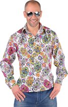 Day of the Dead Halloween blouse met schedels Verkleedkleding heren maat XXL (62-64)