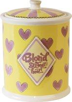 Blond Amsterdam geel/roze - groot hart - Pot met deksel