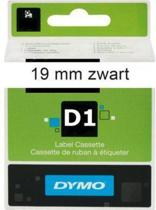 Lettertape Dymo D1 45803 Zwart op Wit 19mmx7m
