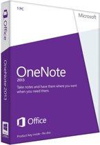 Microsoft OneNote 2013 - Engels / 32-bit/64-bit / 1 Licentie / Medialess