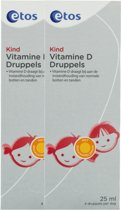 Etos Vitamine D Druppel Kind - 2 x 25 ml - Vitaminen