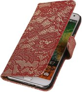 Samsung Galaxy E5 - Lace Bloem Design Rood - Book Case Wallet Cover Hoesje