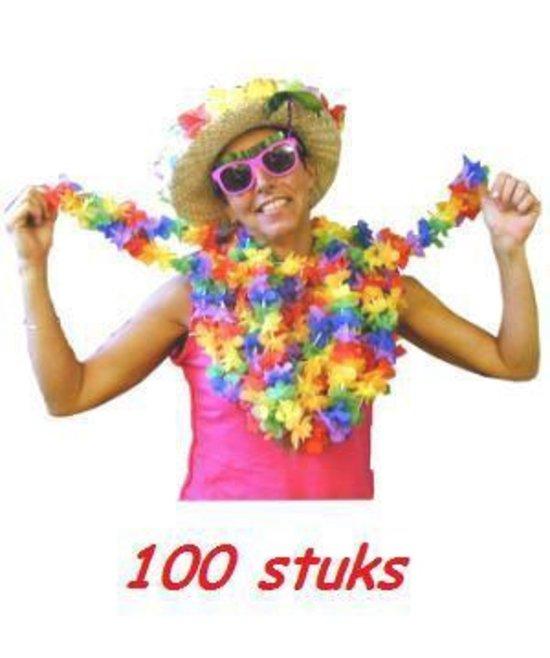 Vrolijk gekleurde Hawaii kransen 100 stuks