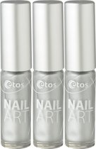 Etos Nailart 091 - Zilver - 3 stuks - Nagellak