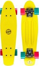 Nijdam Plastic Skateboard 22.5 Inch - Flipgrip-board - Fluorgeel/Blauw/Fuchsia
