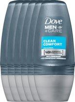 Dove clean comfort Men + Care - 50 ml - deodorant roller - 6 st - Voordeelverpakking