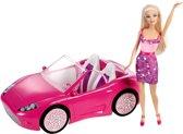 Barbie Glam met Auto - Barbie auto - Roze