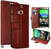 Kds Ultra Thin Wallet case hoesje HTC One M8 bruin