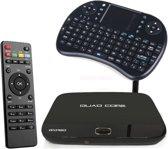 FREEBOX Android Smart TV Box Quad Core 1080P met Draadloos Toetsenbord en Afstandbediening