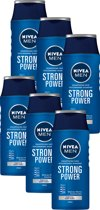NIVEA MEN Strong Power - 6 x 250 ml Voordeelverpakking - Shampoo