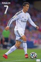 Een poster met een afbeelding van Ronaldo gedrukt op glanzend papier ...