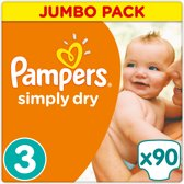 Pampers Simply Dry - Maat 3 Jumbo Box 90 luiers