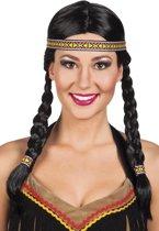 Pruik Indiaan Kewanee met Haarband