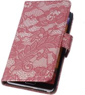 Lace Rood Samsung Galaxy Note 4 Book/Wallet Case/Cover Hoesje