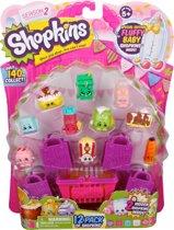 Shopkins 12 personages + 1 mand + 4 winkeltassen