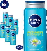 NIVEA MEN Power Refresh - 500 ml - Douchegel - 6 st - Voordeelverpakking