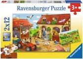 Drukte op de boerderij - Kinderpuzzel - 12 Stukjes