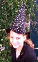 Halloween heksenhoed zwart met zilver