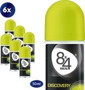 8x4 For Men Discovery - 50 ml - Deodorant - 6 st - Voordeelverpakking