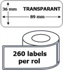 1x Dymo 99013 compatible 260 labels  / 36 mm x 89 mm / tranparant