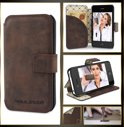 Echt Leer cover - iPhone 4 & 4S hoesje - Lederen Book Case Bruin - BookCase (Antic Brown)
